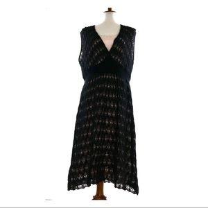 Marina Ronaldi Mohair Wool Loose Knit Midi Dress
